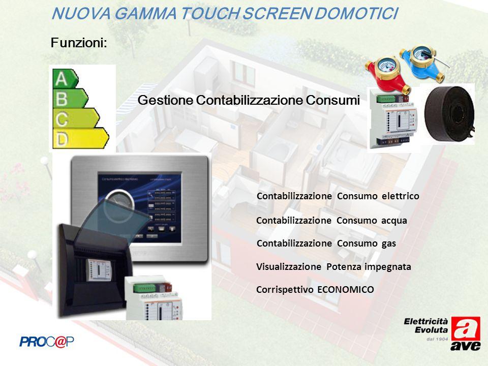 NUOVA GAMMA TOUCH SCREEN DOMOTICI Funzioni: Gestione Contabilizzazione Consumi Contabilizzazione Consumo elettrico Contabilizzazione Consumo acqua Con