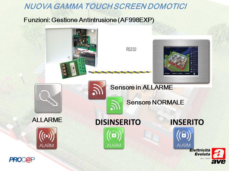 NUOVA GAMMA TOUCH SCREEN DOMOTICI Funzioni: Gestione Antintrusione (AF998EXP) ALLARME DISINSERITOINSERITO Sensore in ALLARME Sensore NORMALE