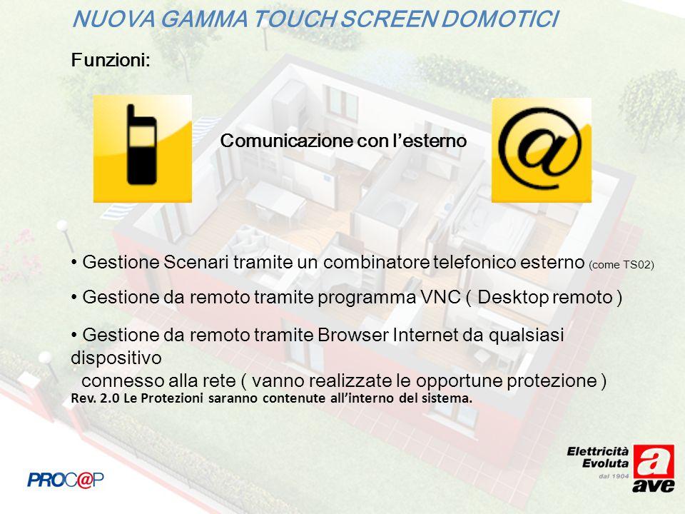 NUOVA GAMMA TOUCH SCREEN DOMOTICI Funzioni: Comunicazione con lesterno Gestione Scenari tramite un combinatore telefonico esterno (come TS02) Gestione