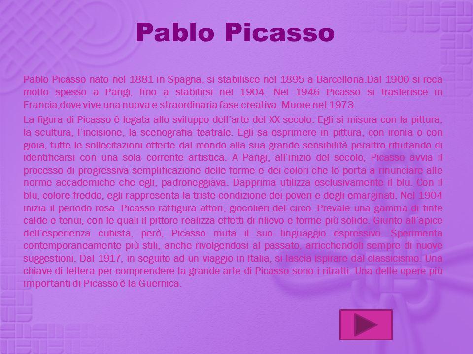 Pablo Picasso Pablo Picasso nato nel 1881 in Spagna, si stabilisce nel 1895 a Barcellona.Dal 1900 si reca molto spesso a Parigi, fino a stabilirsi nel