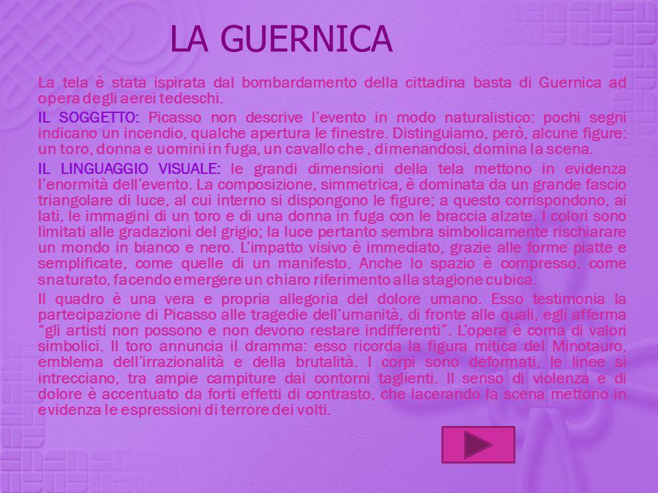La tela è stata ispirata dal bombardamento della cittadina basta di Guernica ad opera degli aerei tedeschi. IL SOGGETTO: Picasso non descrive levento
