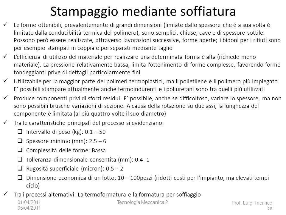 Tecnologia Meccanica 201/04/2011 05/04/2011 Prof. Luigi Tricarico 28 Le forme ottenibili, prevalentemente di grandi dimensioni (limiate dallo spessore