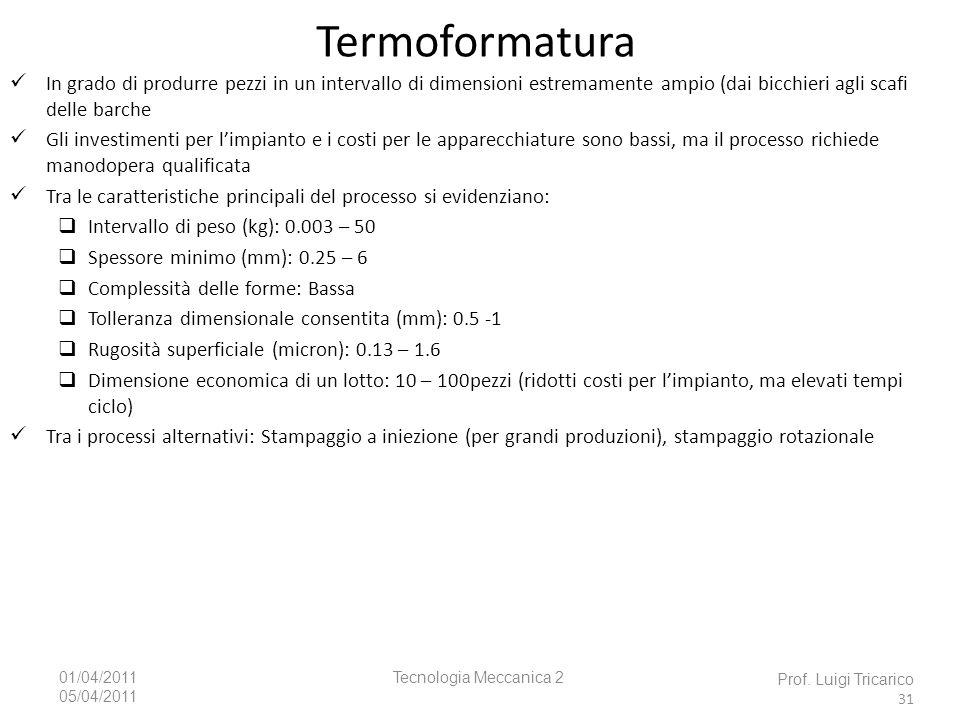 Tecnologia Meccanica 201/04/2011 05/04/2011 Prof. Luigi Tricarico 31 Termoformatura In grado di produrre pezzi in un intervallo di dimensioni estremam
