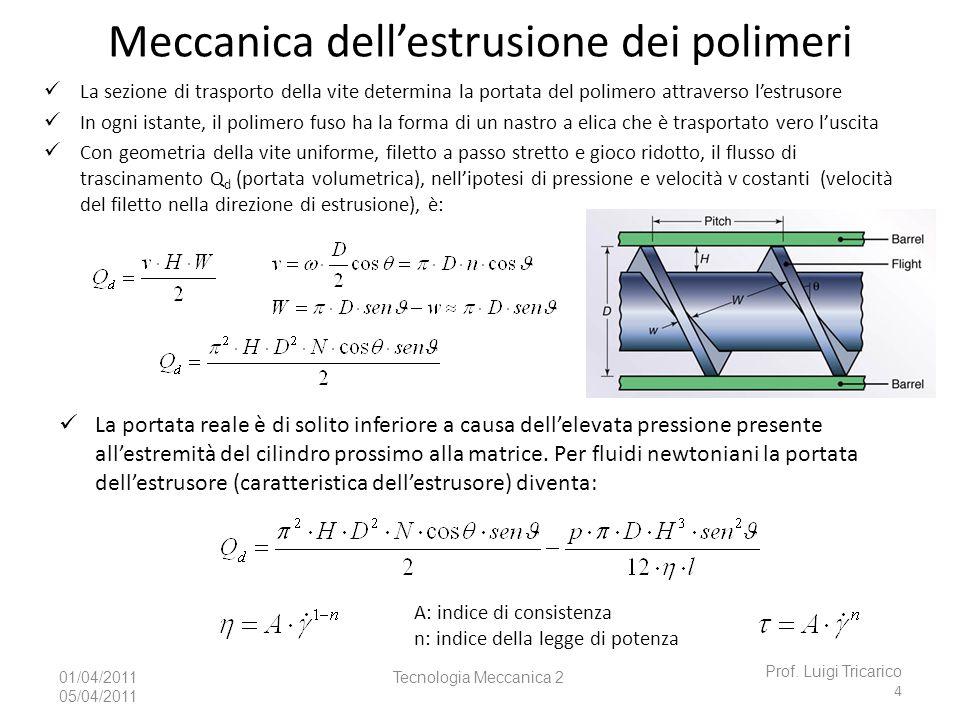 Tecnologia Meccanica 201/04/2011 05/04/2011 Meccanica dellestrusione dei polimeri Prof. Luigi Tricarico 4 La portata reale è di solito inferiore a cau