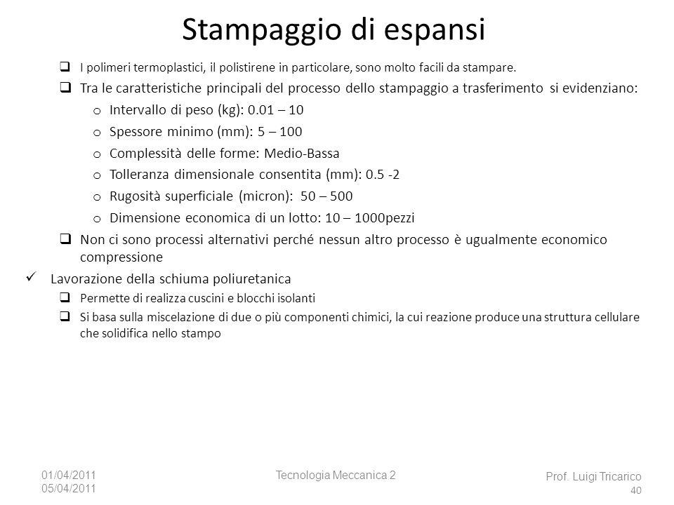 Tecnologia Meccanica 201/04/2011 05/04/2011 Prof. Luigi Tricarico 40 I polimeri termoplastici, il polistirene in particolare, sono molto facili da sta