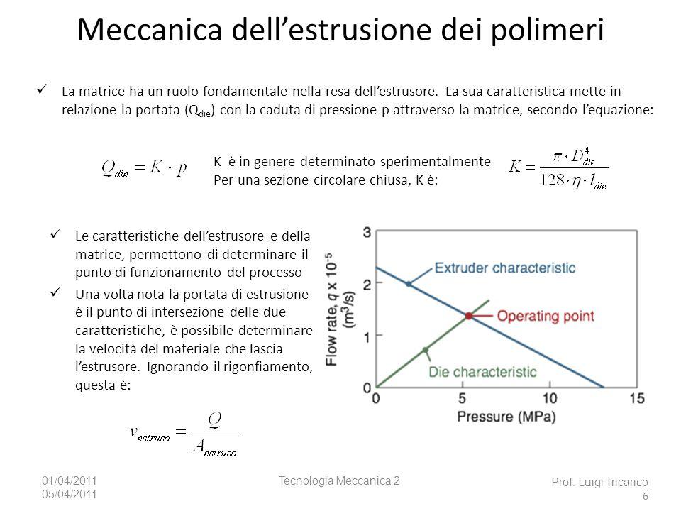 Tecnologia Meccanica 201/04/2011 05/04/2011 Caratteristiche del processo Dopo luscita dalla matrice, lestruso è raffreddato con aria o acqua e avvolto o tagliato a misura Il controllo della velocità di raffreddamento è importante è importante per minimizzare le distorsioni a causa del ritiro Lestruso può essere anche trafilato (calibrato) Poiché lestruso è ancora molle appena lascia la matrice e viene rilasciata la pressione, la sua sezione è diversa dalla forma dellapertura della matrice (fenomeno del rigonfiamento, die swell).