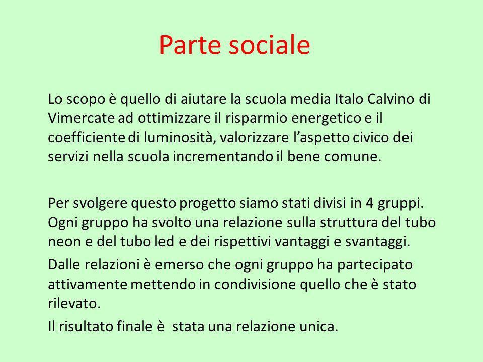 Parte sociale Lo scopo è quello di aiutare la scuola media Italo Calvino di Vimercate ad ottimizzare il risparmio energetico e il coefficiente di lumi