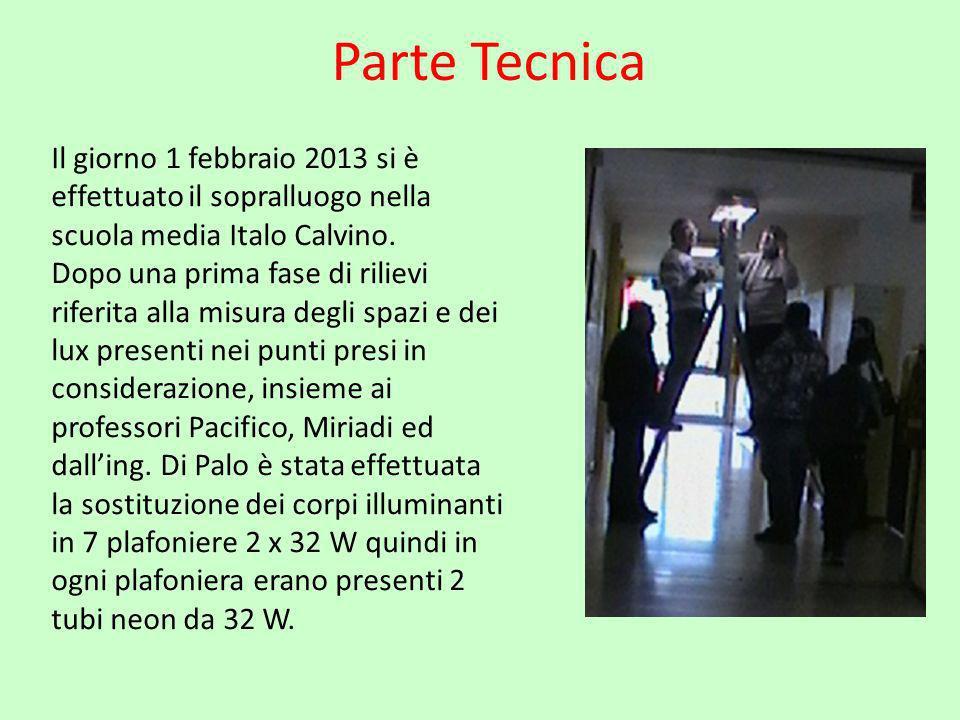 Parte Tecnica Il giorno 1 febbraio 2013 si è effettuato il sopralluogo nella scuola media Italo Calvino. Dopo una prima fase di rilievi riferita alla