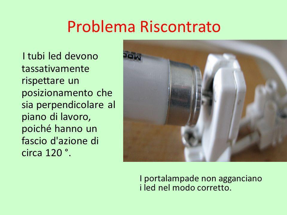 Problema Riscontrato I tubi led devono tassativamente rispettare un posizionamento che sia perpendicolare al piano di lavoro, poiché hanno un fascio d