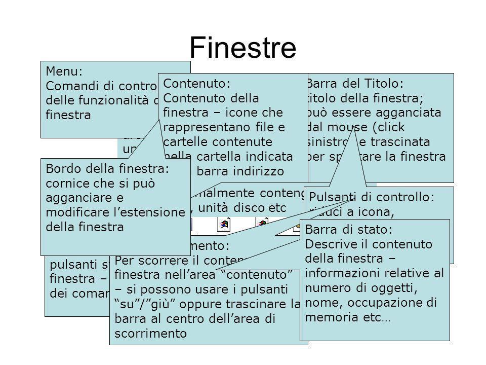 Finestra: area di visualizzazione caratterizzata da un bordo, barra degli strumenti, pulsanti, barre di scorrimento etc che contiene informazioni.