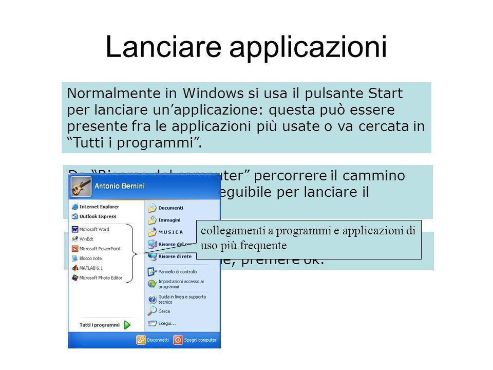 Lanciare applicazioni Normalmente in Windows si usa il pulsante Start per lanciare unapplicazione: questa può essere presente fra le applicazioni più usate o va cercata in Tutti i programmi.