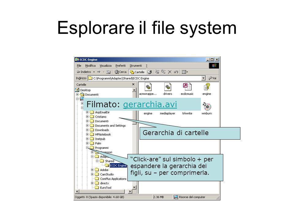 Esplorare il file system Gerarchia di cartelle Click-are sul simbolo + per espandere la gerarchia dei figli, su – per comprimerla.