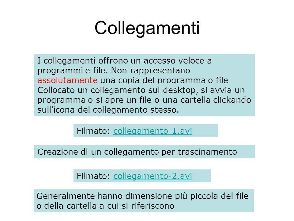 Collegamenti I collegamenti offrono un accesso veloce a programmi e file.