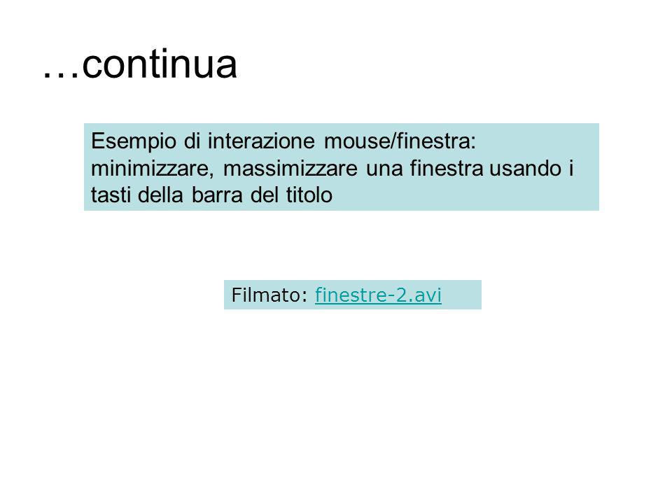 …continua Esempio di interazione mouse/finestra: minimizzare, massimizzare una finestra usando i tasti della barra del titolo Filmato: finestre-2.avifinestre-2.avi