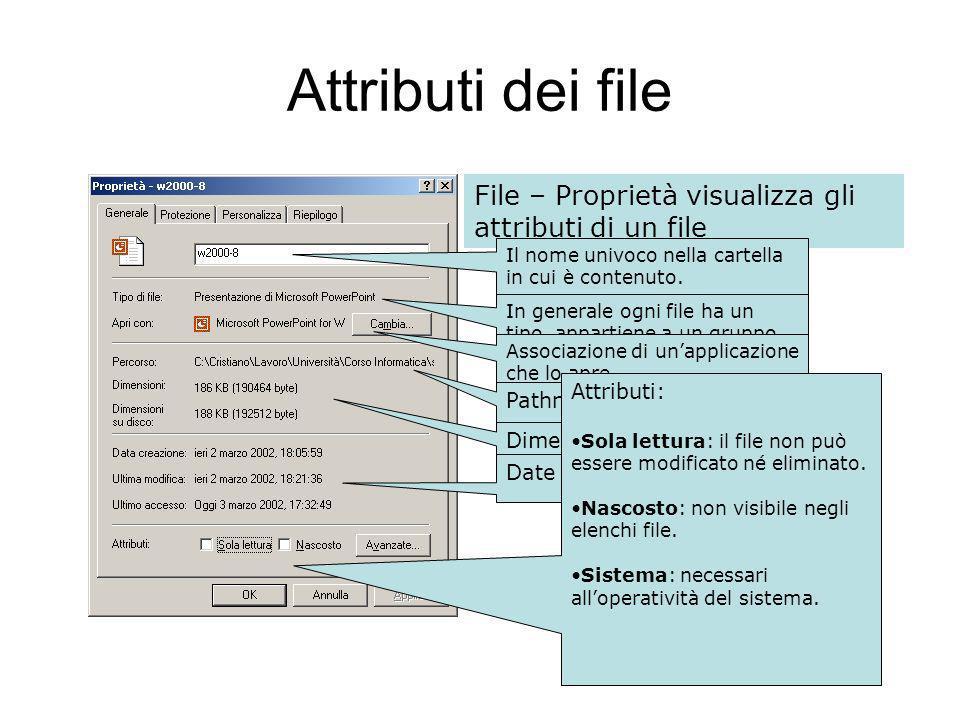 Attributi dei file File – Proprietà visualizza gli attributi di un file Il nome univoco nella cartella in cui è contenuto.