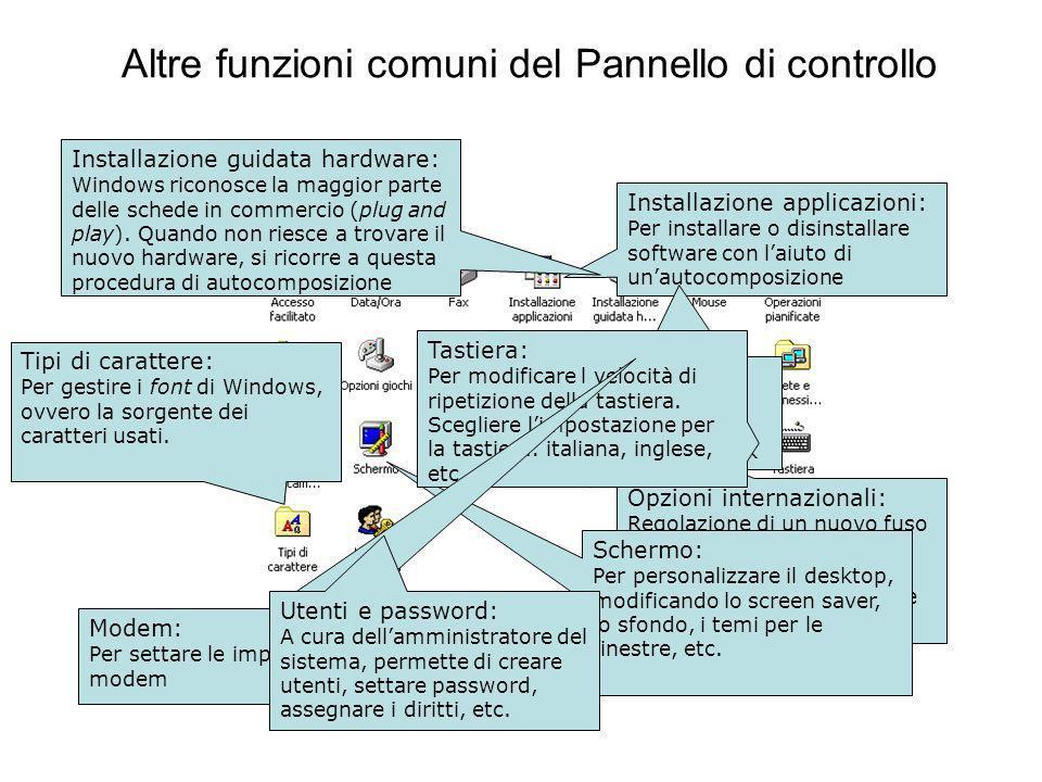 Altre funzioni comuni del Pannello di controllo Installazione applicazioni: Per installare o disinstallare software con laiuto di unautocomposizione Installazione guidata hardware: Windows riconosce la maggior parte delle schede in commercio (plug and play).