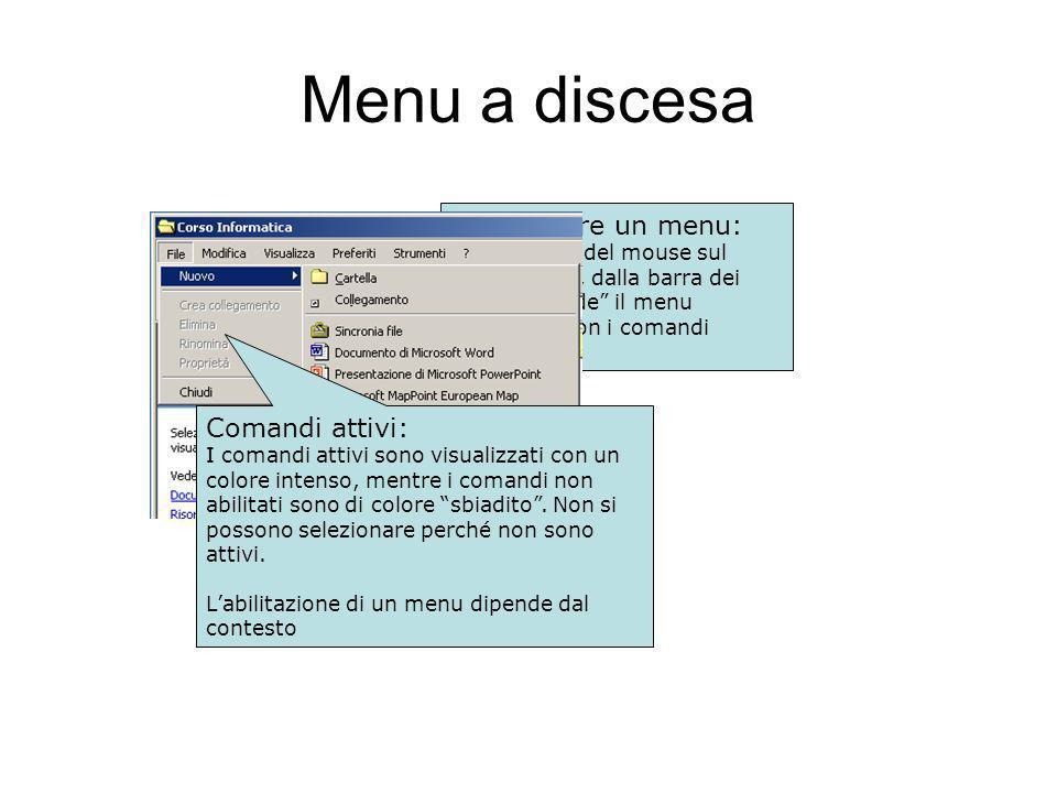 Menu a discesa Selezionare un menu: Con un click del mouse sul menu scelto, dalla barra dei menu scende il menu (ancora…) con i comandi relativi.
