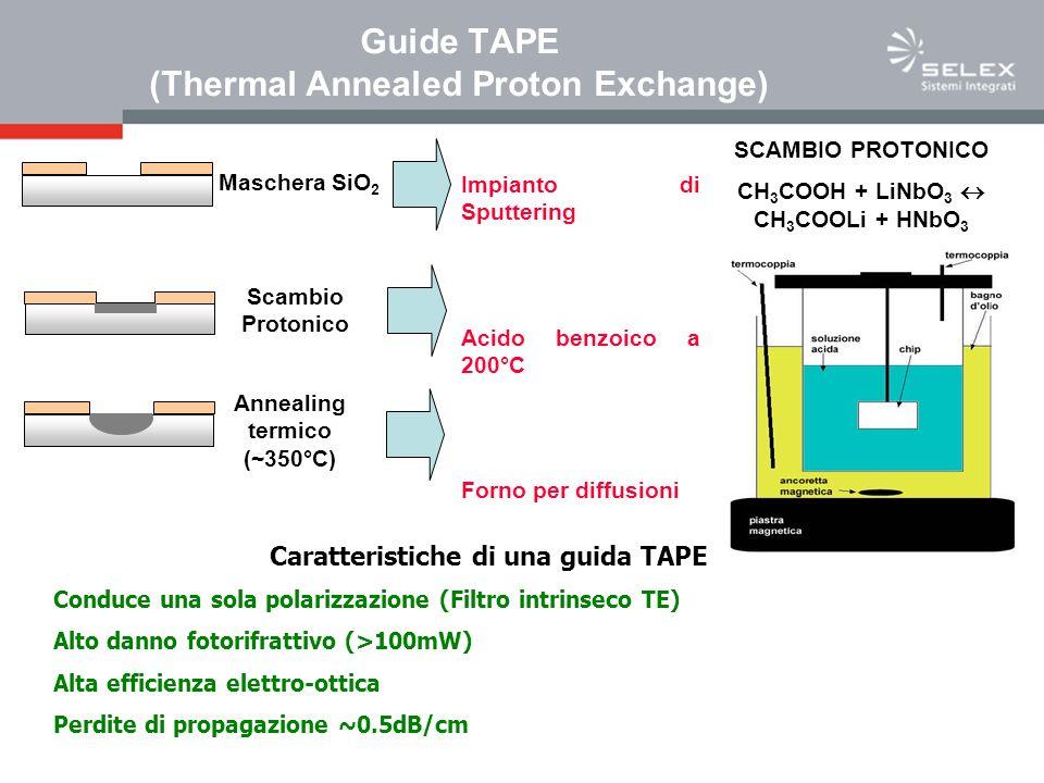 Maschera SiO 2 Scambio Protonico Annealing termico (~350°C) Caratteristiche di una guida TAPE Conduce una sola polarizzazione (Filtro intrinseco TE) Alto danno fotorifrattivo (>100mW) Alta efficienza elettro-ottica Perdite di propagazione ~0.5dB/cm SCAMBIO PROTONICO CH 3 COOH + LiNbO 3 CH 3 COOLi + HNbO 3 Guide TAPE (Thermal Annealed Proton Exchange) Impianto di Sputtering Acido benzoico a 200°C Forno per diffusioni