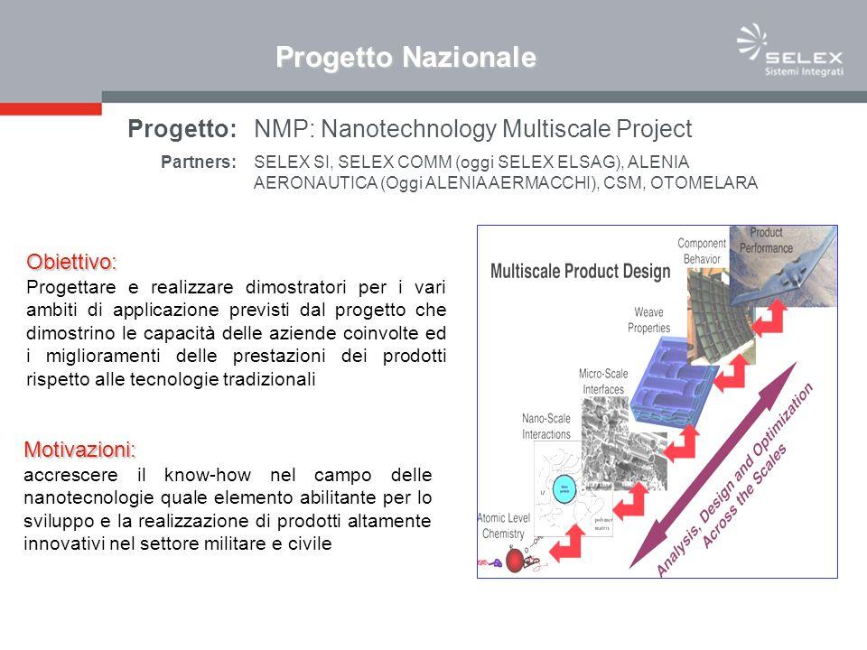 Obiettivo: Progettare e realizzare dimostratori per i vari ambiti di applicazione previsti dal progetto che dimostrino le capacità delle aziende coinvolte ed i miglioramenti delle prestazioni dei prodotti rispetto alle tecnologie tradizionali Motivazioni: accrescere il know-how nel campo delle nanotecnologie quale elemento abilitante per lo sviluppo e la realizzazione di prodotti altamente innovativi nel settore militare e civile Progetto:NMP: Nanotechnology Multiscale Project Partners:SELEX SI, SELEX COMM (oggi SELEX ELSAG), ALENIA AERONAUTICA (Oggi ALENIA AERMACCHI), CSM, OTOMELARA Progetto Nazionale