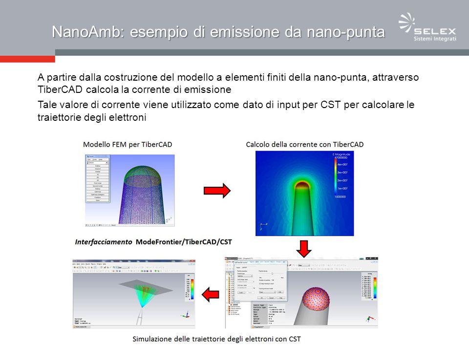 NanoAmb: esempio di emissione da nano-punta A partire dalla costruzione del modello a elementi finiti della nano-punta, attraverso TiberCAD calcola la corrente di emissione Tale valore di corrente viene utilizzato come dato di input per CST per calcolare le traiettorie degli elettroni