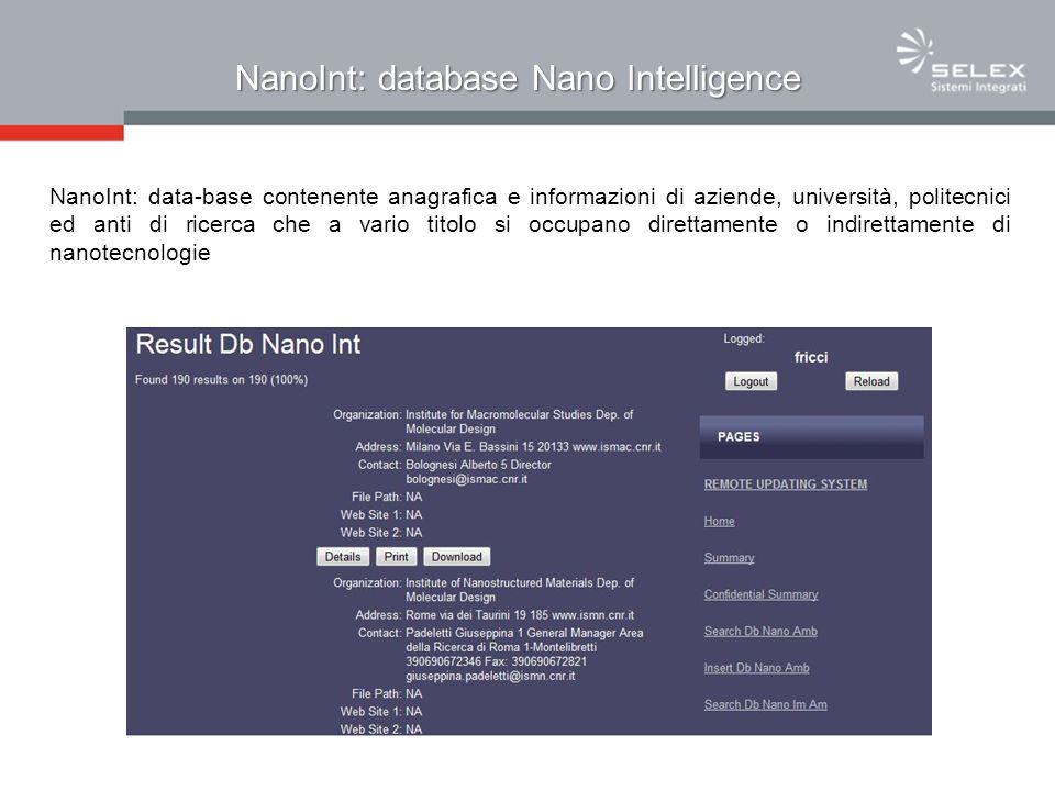 NanoInt: database Nano Intelligence NanoInt: data-base contenente anagrafica e informazioni di aziende, università, politecnici ed anti di ricerca che a vario titolo si occupano direttamente o indirettamente di nanotecnologie