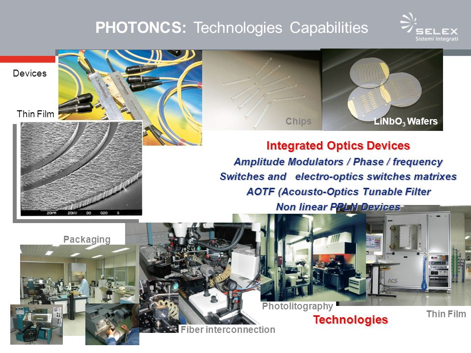 Integrated Optics Lithium Niobate Foundry –Wide BW (>30GHz) electroptic modulators –Acusto-Optic Tunable Filters –Fiber Optics Gyroscopes –Fiber Optics EM-Field Sensors –Optical swich matrixes –Design, manufacturing, pigtailing and packaging of customised devices PHOTONICS TECHNOLOGIES: Advanced architectures for Optical signal processing Optical Beam Forming Networks Photonic μ-wave generation and μ-wave mixing High sampling rate Photonic A/D converters Programmable Fiber Optic Delay Lines for Radar Calibration Digital & analog FO links
