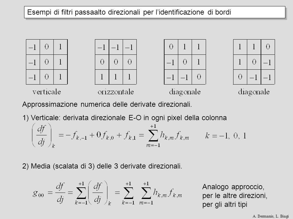 Esempi di filtri passaalto direzionali per lidentificazione di bordi Approssimazione numerica delle derivate direzionali. 1) Verticale: derivata direz