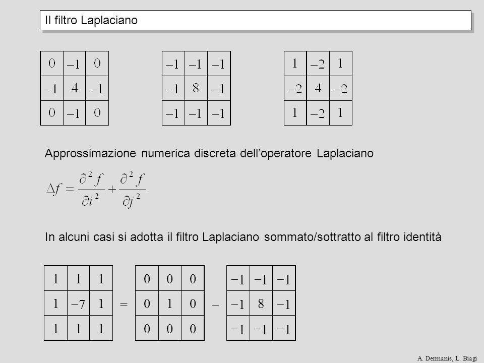 Il filtro Laplaciano Approssimazione numerica discreta delloperatore Laplaciano In alcuni casi si adotta il filtro Laplaciano sommato/sottratto al fil