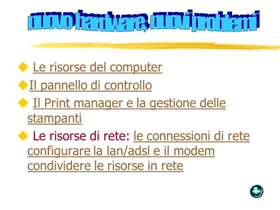u Le risorse del computerLe risorse del computer uIl pannello di controlloIl pannello di controllo u Il Print manager e la gestione delle stampantiIl Print manager e la gestione delle stampanti u Le risorse di rete: le connessioni di rete configurare la lan/adsl e il modem condividere le risorse in retele connessioni di rete configurare la lan/adsl e il modem condividere le risorse in rete