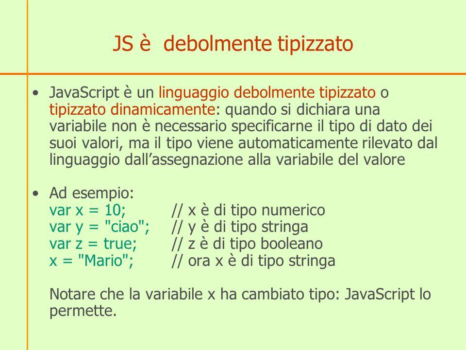 Conversione del tipo di dati Quando un tipo viene utilizzato in un contesto che richiede un tipo diverso, JavaScript tenta automaticamente di convertire il valore nel tipo necessario Esempio alert() richiede come argomento il tipo stringa, ma con le seguenti istruzioni non si ottiene errore, perché JS converte il numero ed il booleano in stringa alert(23)// converte 23 in 23 alert(true)// converte true in true
