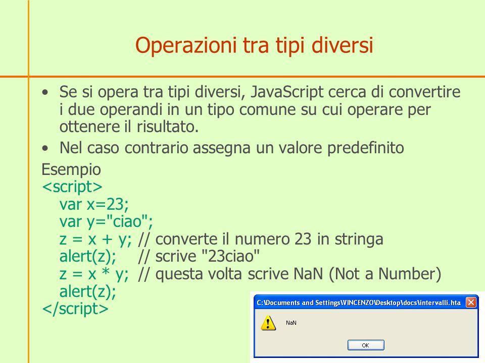 Altre conversioni Le possibilità da provare operando con variabili di tipo diverso sono molte ed è utili fare le varie prove (cercare di vedere se si riesce a prevedere il risultato) Altri esempi var x=23; var y= 42 ; z = x + y; alert(z); // scrive 2342 (converte il numero in stringa) z = x * y; alert(z);// scrive 966 (converte la stringa in numero)