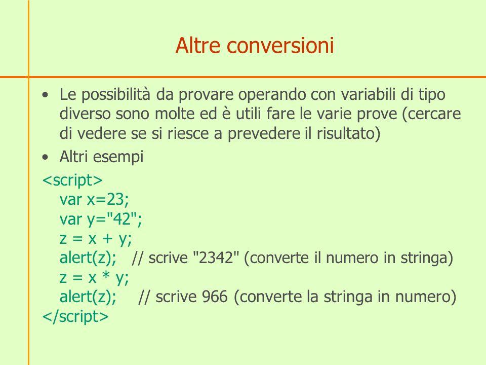 Altre conversioni Le possibilità da provare operando con variabili di tipo diverso sono molte ed è utili fare le varie prove (cercare di vedere se si