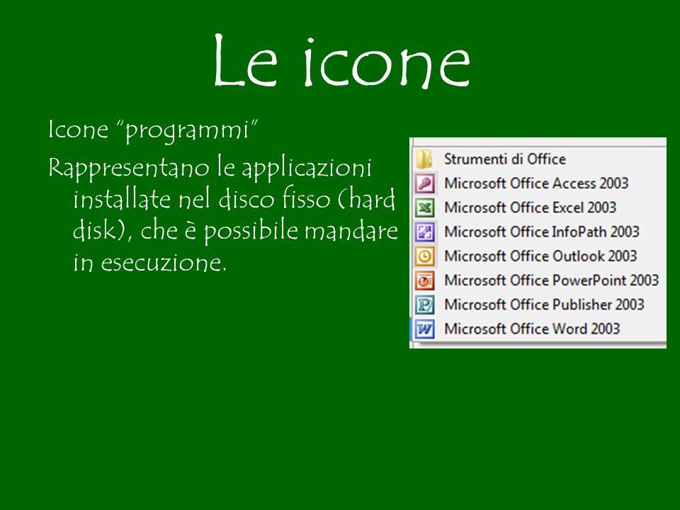 Le icone Icone programmi Rappresentano le applicazioni installate nel disco fisso (hard disk), che è possibile mandare in esecuzione.
