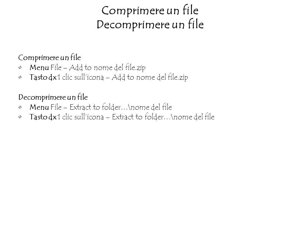 Comprimere un file Decomprimere un file Comprimere un file Menu File – Add to nome del file.zip Tasto dx 1 clic sullicona – Add to nome del file.zip Decomprimere un file Menu File – Extract to folder…\nome del file Tasto dx 1 clic sullicona – Extract to folder…\nome del file