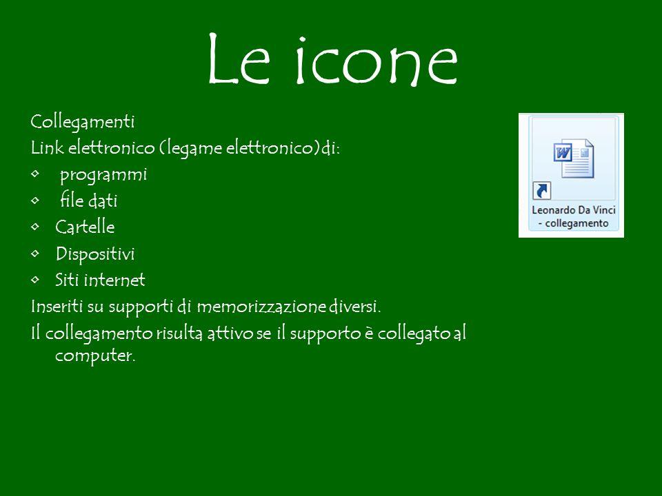 Le icone Collegamenti Link elettronico (legame elettronico)di: programmi file dati Cartelle Dispositivi Siti internet Inseriti su supporti di memorizzazione diversi.