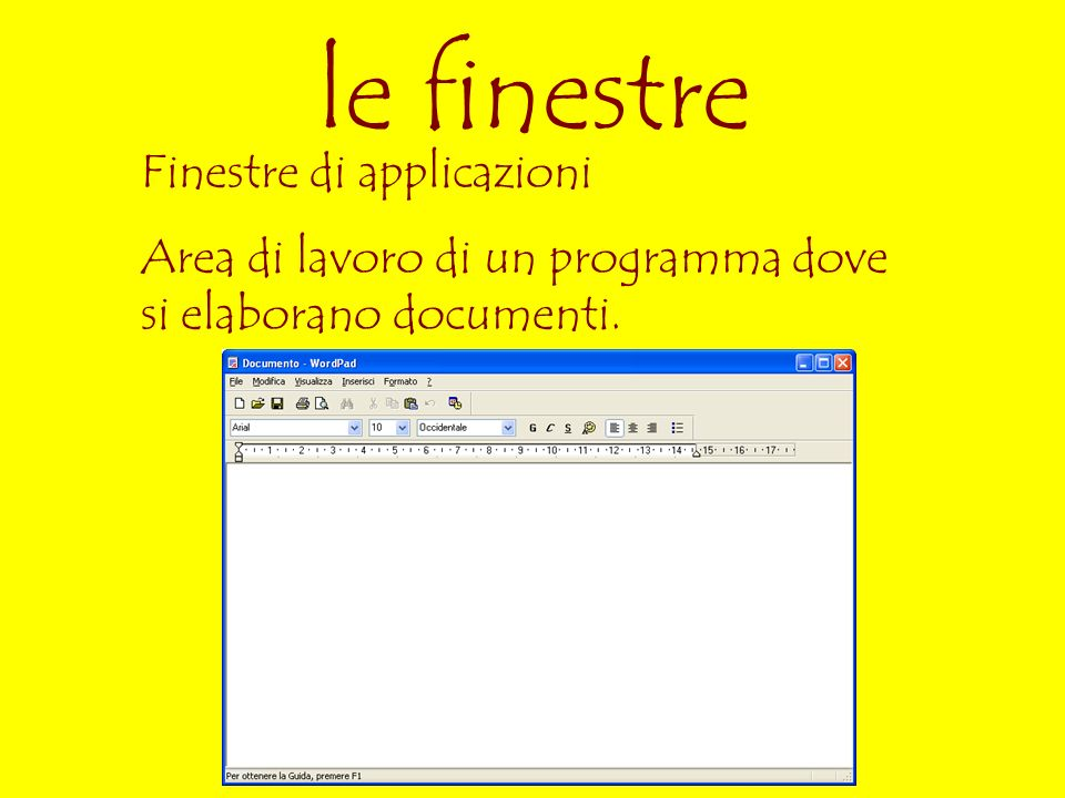le finestre Finestre di applicazioni Area di lavoro di un programma dove si elaborano documenti.