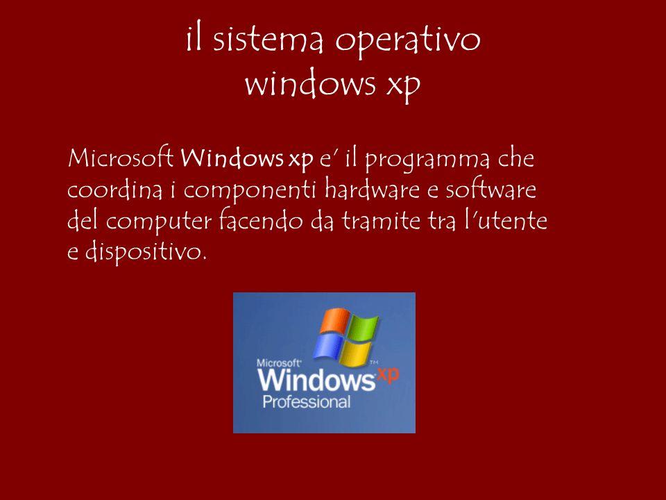 Microsoft Windows xp e il programma che coordina i componenti hardware e software del computer facendo da tramite tra l utente e dispositivo.