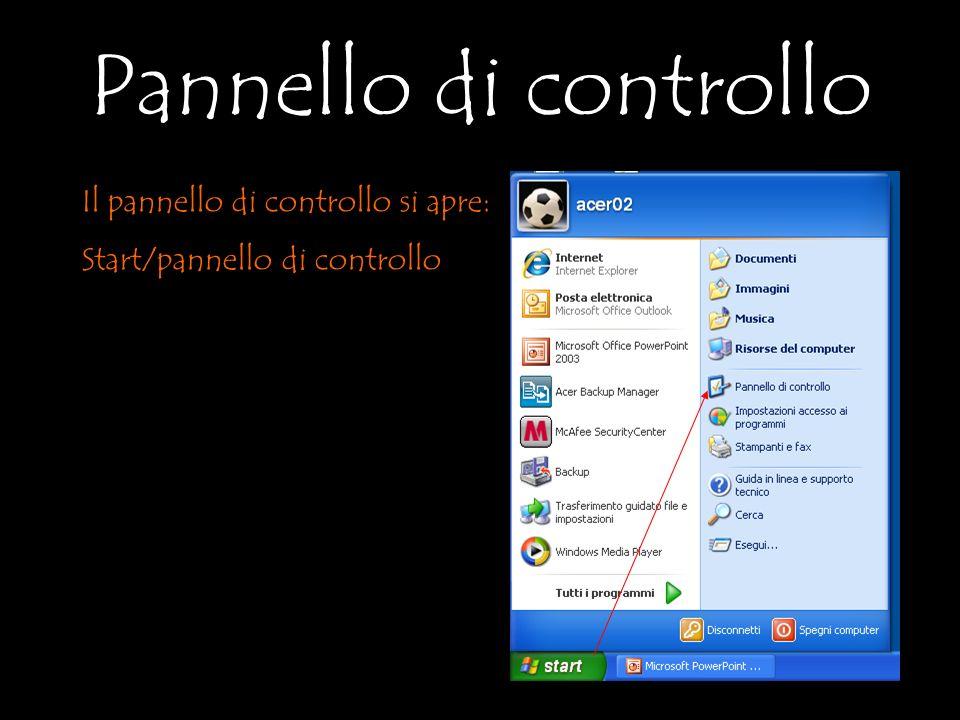 Il pannello di controllo si apre: Start/pannello di controllo