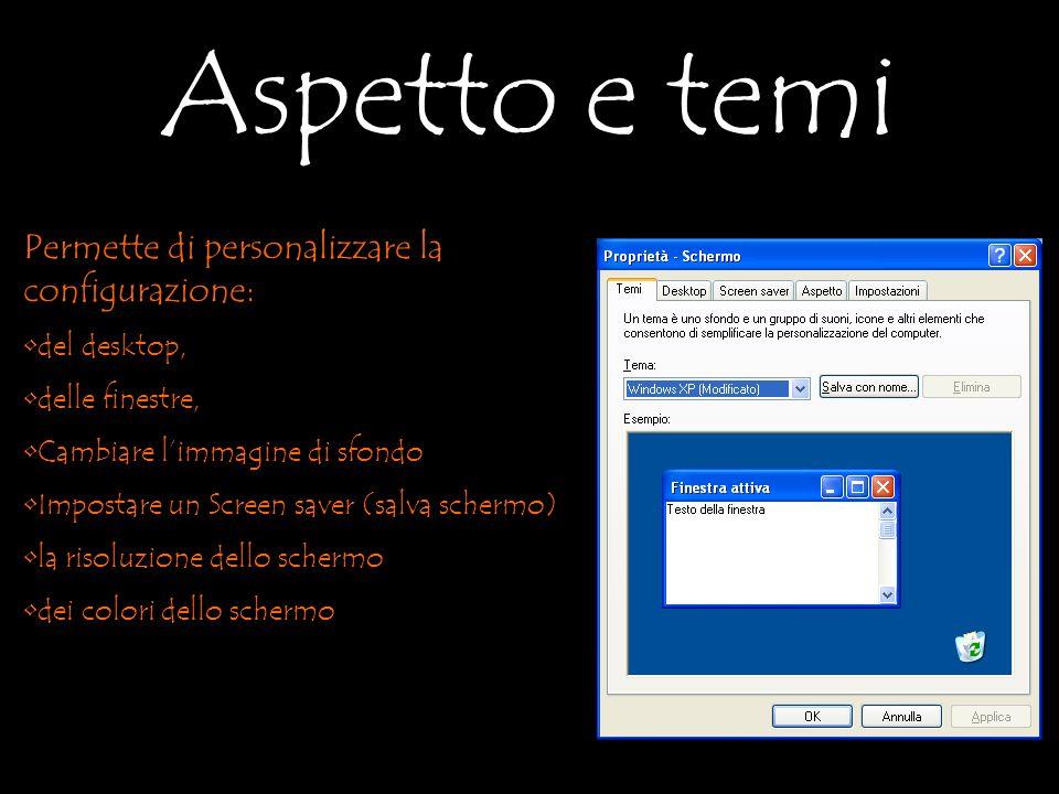 Permette di personalizzare la configurazione: del desktop, delle finestre, Cambiare limmagine di sfondo Impostare un Screen saver (salva schermo) la risoluzione dello schermo dei colori dello schermo