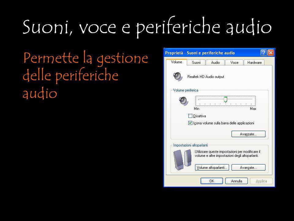 Suoni, voce e periferiche audio Permette la gestione delle periferiche audio