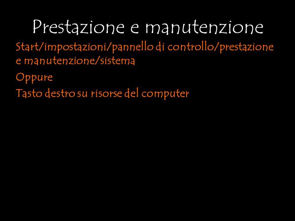Start/impostazioni/pannello di controllo/prestazione e manutenzione/sistema Oppure Tasto destro su risorse del computer