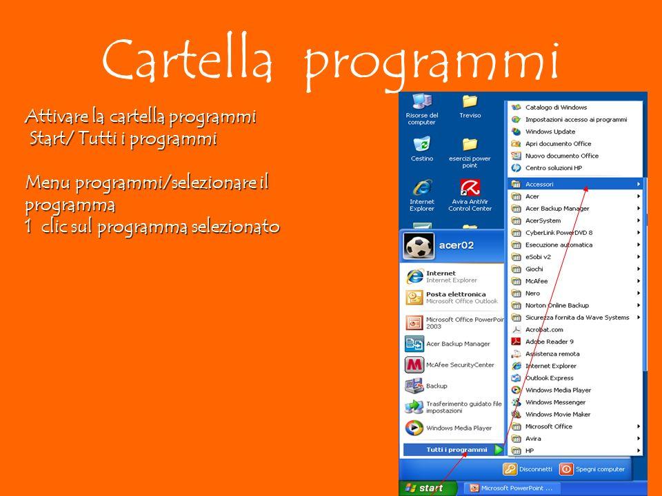 Attivare la cartella programmi Start/ Tutti i programmi Start/ Tutti i programmi Menu programmi/selezionare il programma 1 clic sul programma selezionato