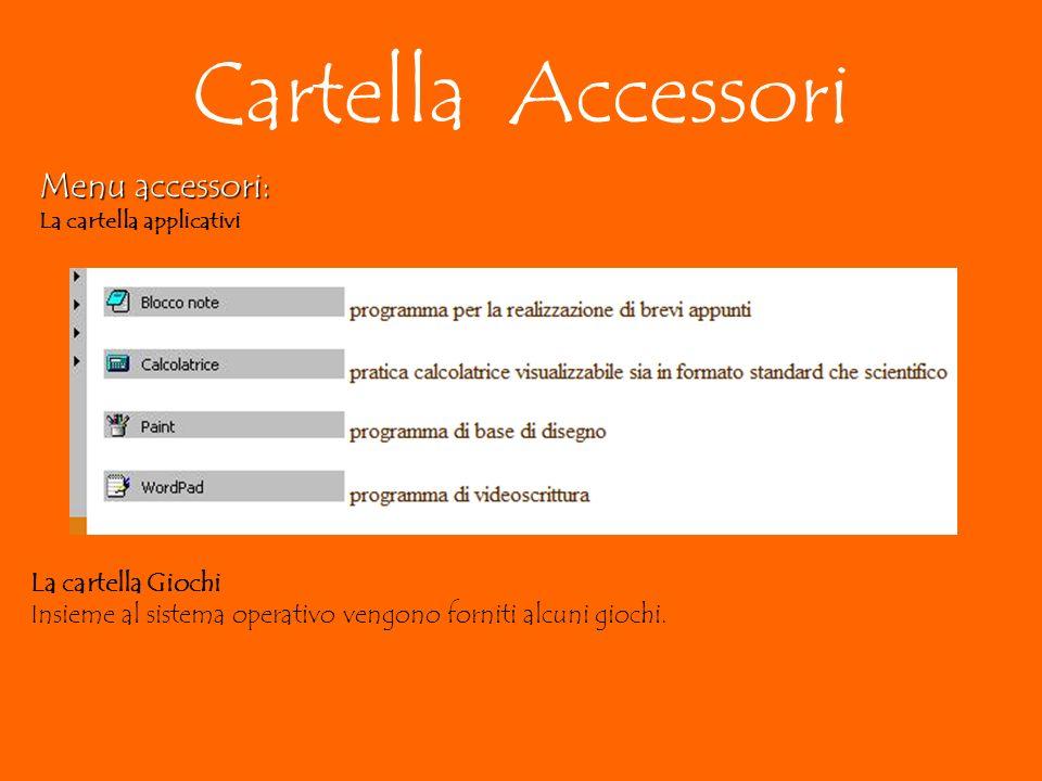 Cartella Accessori Menu accessori: La cartella applicativi La cartella Giochi Insieme al sistema operativo vengono forniti alcuni giochi.