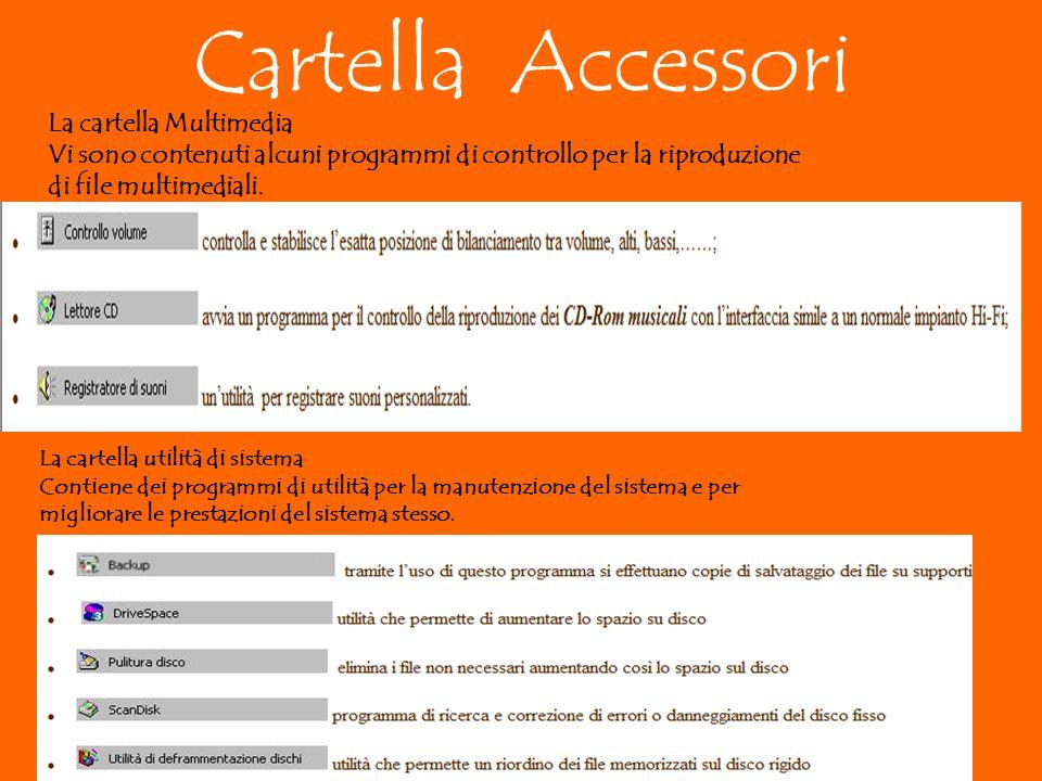 Cartella Accessori La cartella Multimedia Vi sono contenuti alcuni programmi di controllo per la riproduzione di file multimediali.