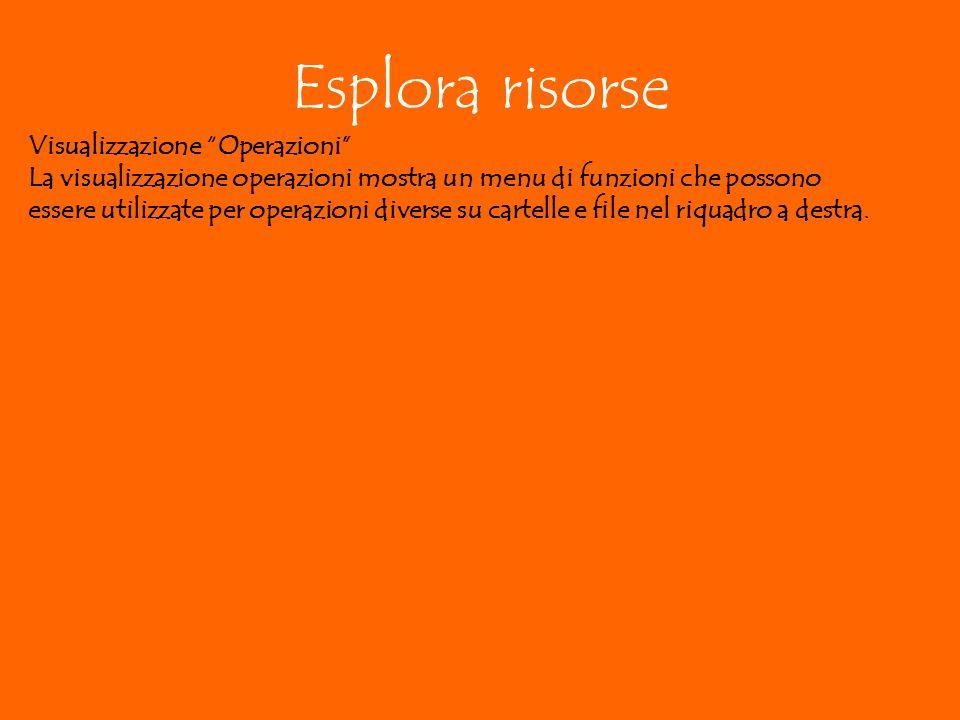 Esplora risorse Visualizzazione Operazioni La visualizzazione operazioni mostra un menu di funzioni che possono essere utilizzate per operazioni diverse su cartelle e file nel riquadro a destra.