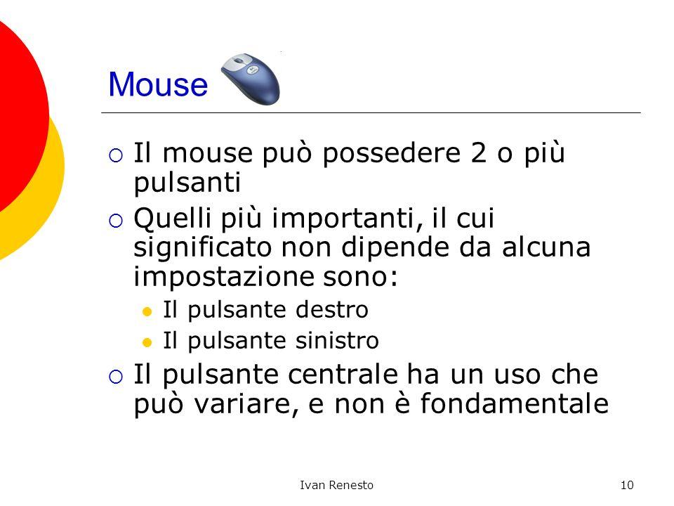 Ivan Renesto10 Mouse Il mouse può possedere 2 o più pulsanti Quelli più importanti, il cui significato non dipende da alcuna impostazione sono: Il pul