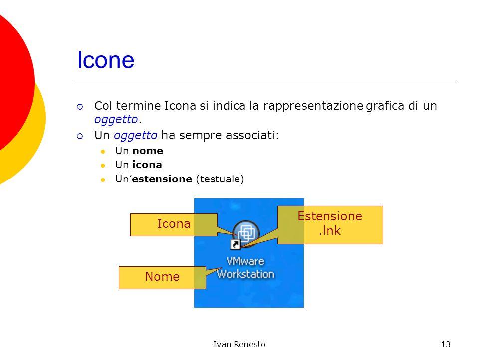 Ivan Renesto13 Icone Col termine Icona si indica la rappresentazione grafica di un oggetto. Un oggetto ha sempre associati: Un nome Un icona Unestensi