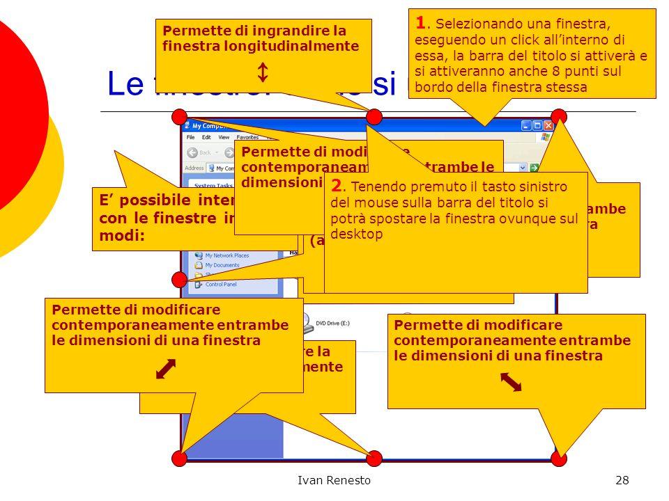 Ivan Renesto28 Le finestre: come si usano E possibile interagire con le finestre in vari modi: 1.
