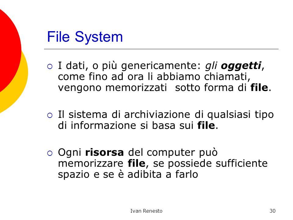 Ivan Renesto30 File System I dati, o più genericamente: gli oggetti, come fino ad ora li abbiamo chiamati, vengono memorizzati sotto forma di file. Il