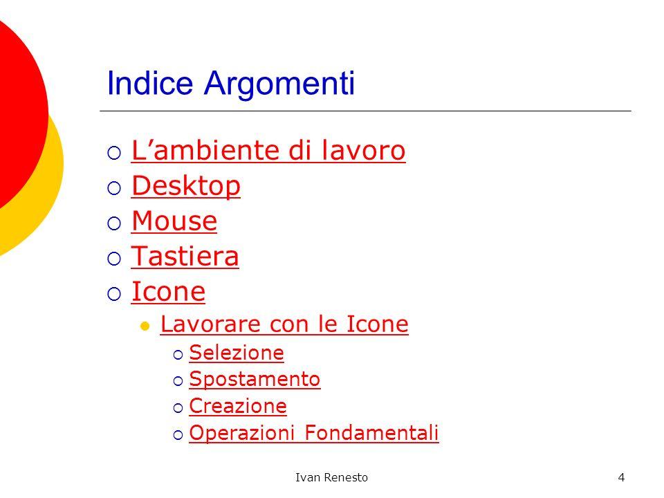 Ivan Renesto4 Indice Argomenti Lambiente di lavoro Desktop Mouse Tastiera Icone Lavorare con le Icone Selezione Spostamento Creazione Operazioni Fonda